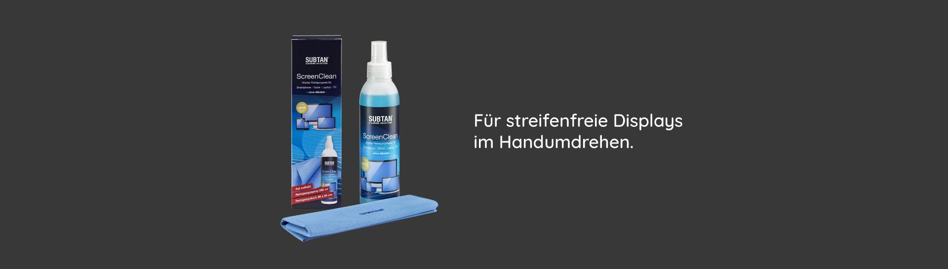 SUBTAN Bildschirmreiniger Sprayflasche mit Tuch